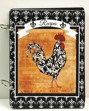 French Country Rooster Damask Blank Recipe Book Personalized FREE New!