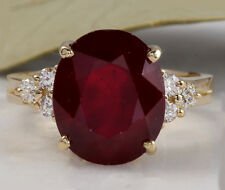 7.35 Carats Red Ruby and Diamond 14K Solid Yellow Gold Ring