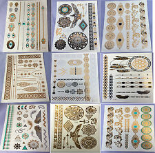 9 Sheets Temporary Disposable Metallic Tattoo Gold Silver Black Flash Tattoos UK