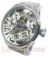IK Colouring Mens Watch Silver Skeleton Automatic New UK