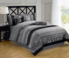 Chezmoi Collection 7-Piece Black Gray Chenille Embroidered Comforter Set, Queen
