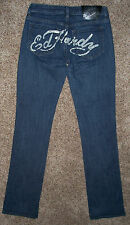 Women's Jeans size 27 ED HARDY by CHRISTIAN AUDIGIER 28x33 SUPER LOW RISE Great
