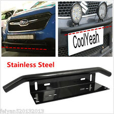 Heavy Duty Bull Bar Bumper License Plate Mount Holder Fog Light Bracket Black