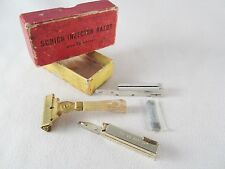 Vintage Schick Cream Handle Injector Safety Razor w/ Keys & Original Box