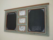 VINTAGE LOOK LARGE DOUBLE WOOD NOTICE BOARD MEMO CHALK BOARD WITH PHOTO FRAMES