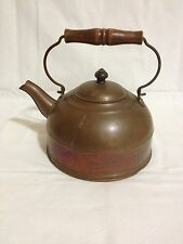Antique Revere Ware (1801?) Copper w/Wooden Handle 2 Qrts Tea Kettle