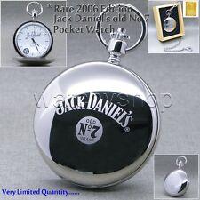 Rare Edition Jack Daniels Silver Steel Polish Men Pocket Watch Chain Wood Box 31