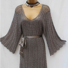 Karen Millen Crochet Knitted Silver Metallic Boho Cocktail Party Dress KM3/12-14
