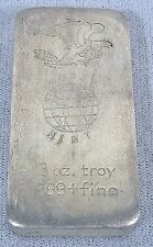 3 oz RARE 1969 WORLD MINT FLYING EAGLE & WORLD GLOBE STAMPED .999 SILVER BAR