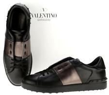 NEW VALENTINO BLACK GUN METAL LEATHER ROCKSTUD LOW-TOP SNEAKERS SHOES 44/11