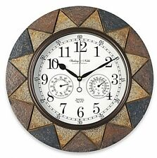 Slate Indoor/Outdoor Wall Clock with Temperature and Humidity Displays