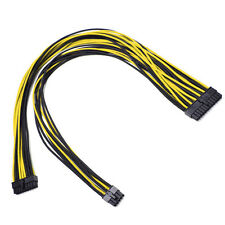 24pin Yellow Black Sleeved PSU Cable EVGA Silverstone Coolermaster Seasonic