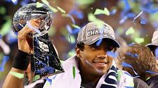 RUSSELL WILSON SEATTLE SEAHAWKS QUARTERBACK SUPER BOWL XLVIII CHAMPIONS POSTER