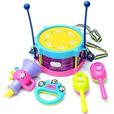 5pcs/Set Kids Toys Roll Drum Handbell Musical Instruments Band Kit Baby Toy Gift