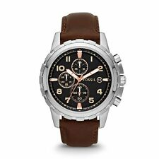 FOSSIL Dean Stainless Steel Leather Chronograph Watch Brown Silver FS4828