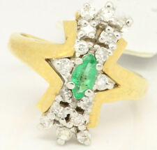 Vintage 14k Yellow Gold 0.88tcw Emerald W/ Diamonds Narrow Cluster Ring Size 7