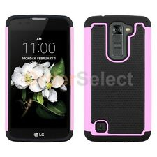 Hybrid Rubber Protector Matte Hard Case Cover for Android LG K7 / Tribute 5 Pink