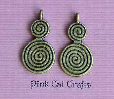 10 x spirale tourbillon double goutte tibétain bronze charms pendentifs perles