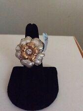 $42 BRIGHTON RETRO GARDEN Silver Gold RING  Size 6 BR 5