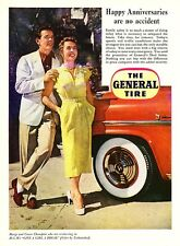 "1953 Actors Marge & Gower Champion photo ""Family Safety"" General Tire print ad"