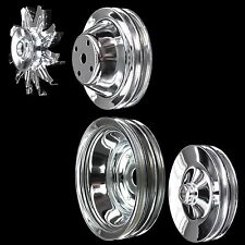 Chrome small block Chevy pulley set 4 pulleys for long pump 283 327 350 383 400