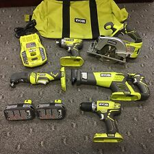 Ryobi ZRP884 18V One Plus Lithium-Ion Ultimate 9 Pc Combo Kit Saw Drill Impact