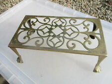 Vintage Brass Trivet Iron Cake Planter Stand Holder French Design Old Ball Claw