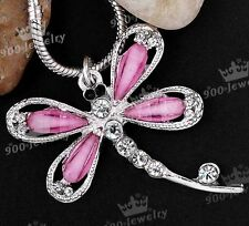 Silver Plated Rhinestone Crystal Dragonfly Pink Charms Pendant Fit Necklace