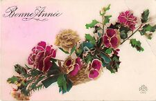 BG4260 bonne annee france new year rose flower  greetings
