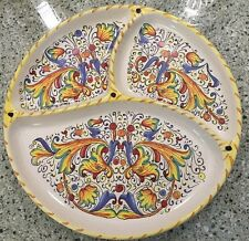 """Meridiana Ceramiche Divided Plate 11.5"""" Hand Painted Majolica Made in Italy"""