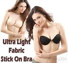 STICK ON BRA INVISIBLE STRAPLESS BACKLESS BLACK NUDE CUPS A B C D NEW