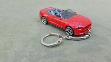Diecast 2015 Ford Mustang GT  Cabriolet Convertible Red Toy Car Keyring Keychain