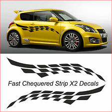Chequered Fast Stripe  X2 decals CAR GRAPHICS VINYL DECALS VAN CUSTOM