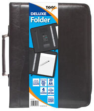 A4 Black Deluxe Executive Folder Calculator Ring Binder Portfolio-301071