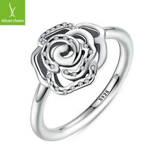 Authentic Rose Pave CZ Flower Finger Ring For Women 925 Silver Jewelry Size 7