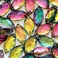 50 pcs x Sew On 6x12 mm Acrylic Rhinestones Rainbow Volcano Color Navette Shape