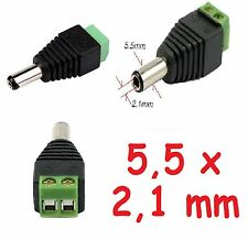CONNETTORE plug spinotto 5,5 x 2,1mm jack maschio per led, telecamere, CCTV...