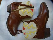 SAM EDELMAN SZ 9 M BROWN LEATHER ANKLE COWBOY/WESTERN BOOTS STUDDED SHANE ANKLE
