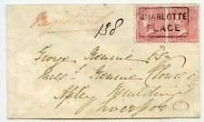 1857 reg. cover with pair 4d rose-carmine CHARLOTTE PLACE Scots Local cancel