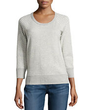 NWT JAMES PERSE Sz1(XS/S) STRIPED RAGLAN 3/4SLEEVE PULLOVER SWEATSHIRT NATUR$145