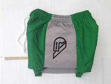 Shiny Nylon Retro Goalie shorts green with contrast padded sides 26/28""
