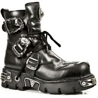 NEWROCK New Rock Mens 407-S1 Silver Cross Black Reactor Sole Leather Ankle Boots