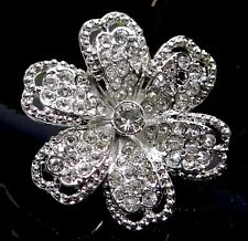 40mm Crystal Rhinestone Silver Plated Pewter Flower Focal Pendant