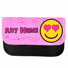 PERSONALISED PINK SMILEY HEART FACE EMOTICON SCHOOL PENCIL CASE / MAKE UP BAG