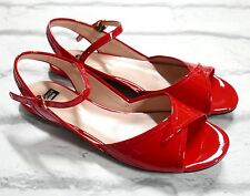 Festive: Boutique Moschino Red Patent Sandals Flats New w/Dustbag IT39.5/UK6.5