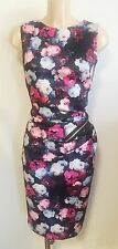 Black Floral Ruch Zip Feature Wiggle Pencil Smart Office Shift Dress Size 12