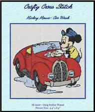"Counted Cross Stitch MICKEY MOUSE ""Car Wash"" - COMPLETE KIT #10-11 KIT"