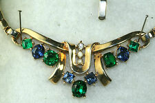 VINTAGE ALFRED PHILIPPE TRIFARI BLUE GREEN RHINESTONE NECKLACE