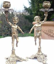 LOVELY ! PAIR OF ANTIQUE BRASS FRENCH CANDLE HOLDERS CANDLESTICKS cherubs