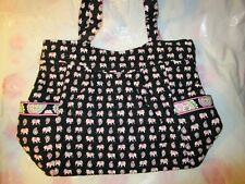 VERA BRADLEY Pleated Tote Bag Large Purse Pink Elephants FREE SHIPPING